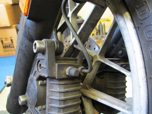 Front Brake Caliper Line & Drain Screw Detail