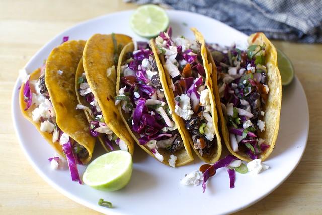 crisp black bean tacos
