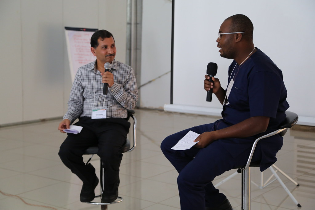 Vara Prasad (left) being interviewed by Jonathan Odhong (right) at the Africa RISING Program Learning Event held on 5 - 8 February 2019 in Malawi. Photo credit: Simret Yasabu/ILRI.