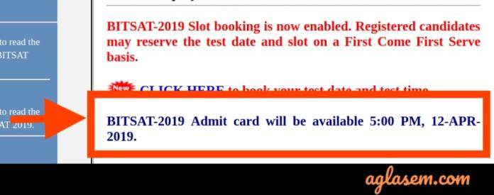 BITSAT 2019 Admit Card Date Official Notice