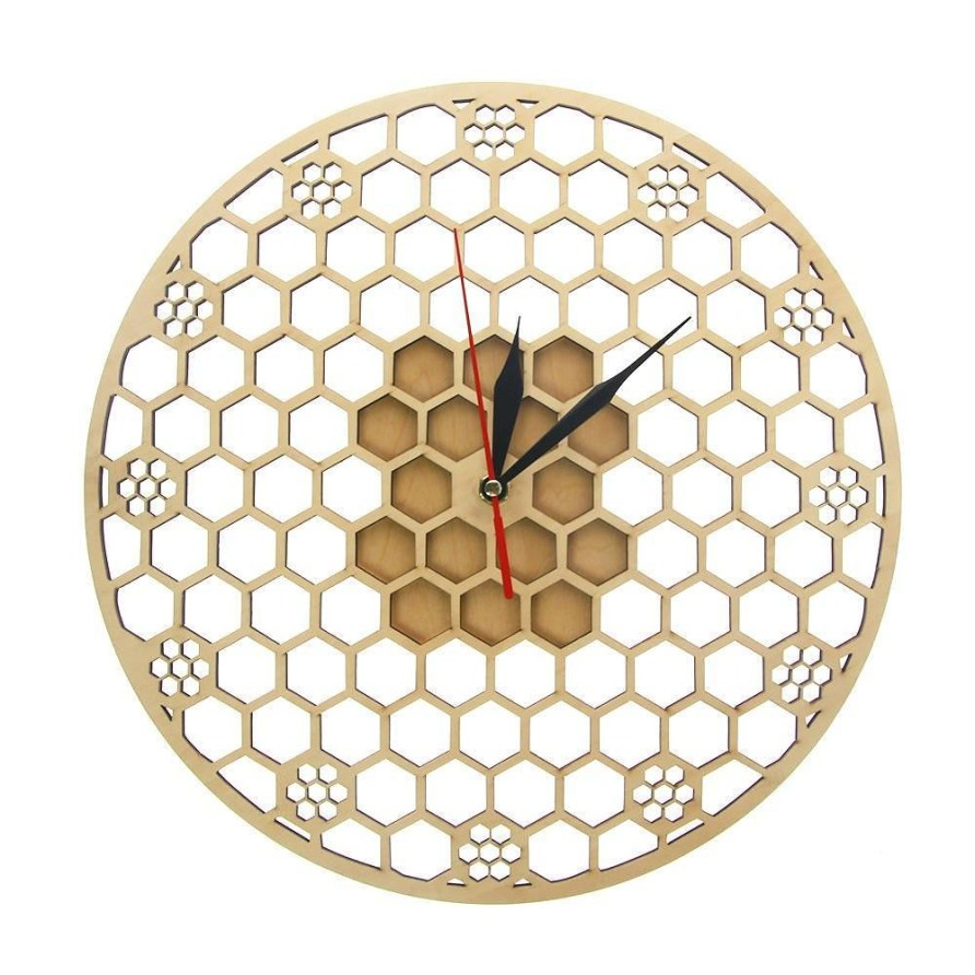 Hexagon Wooden Wall Clock Honeycomb Sacred Geometry Comb Modern Mandala Clock Watch Bee Lover Keeper Room Deco Gift Silent Sweep