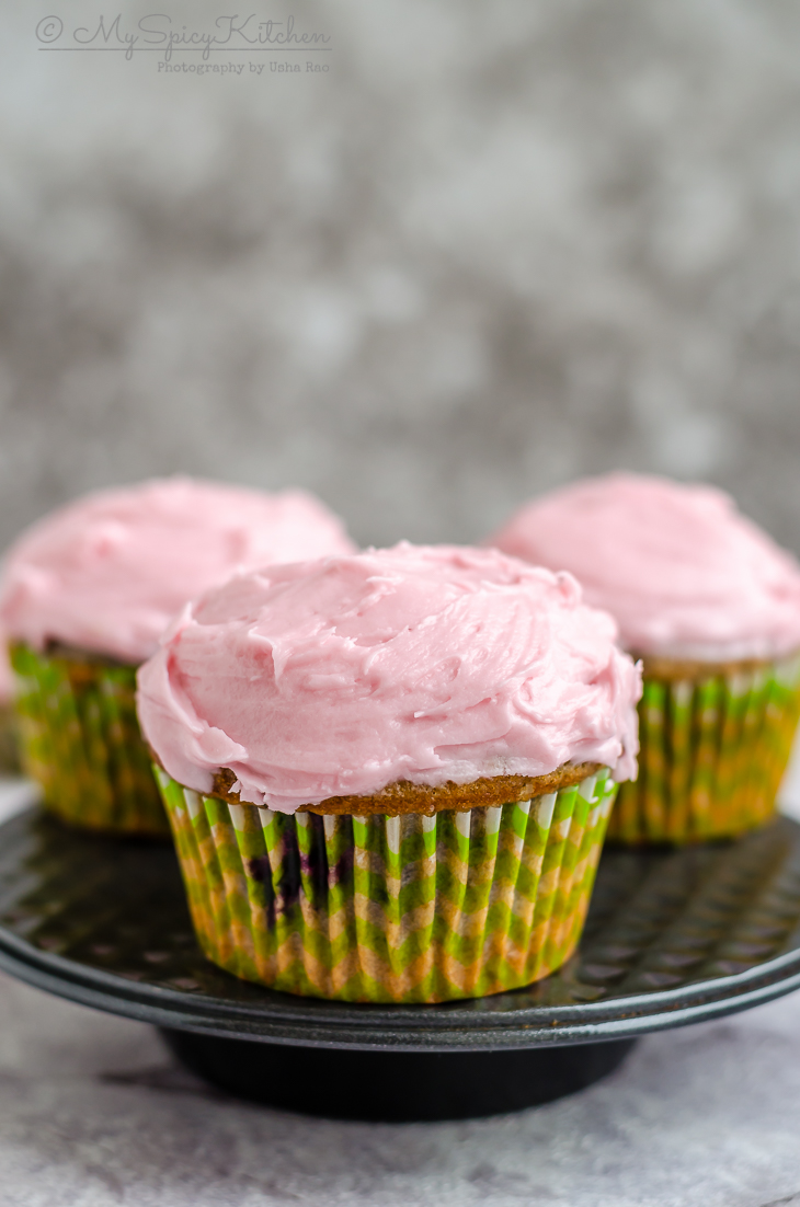 Blackberry lime cupcakes frosted with cream cheese