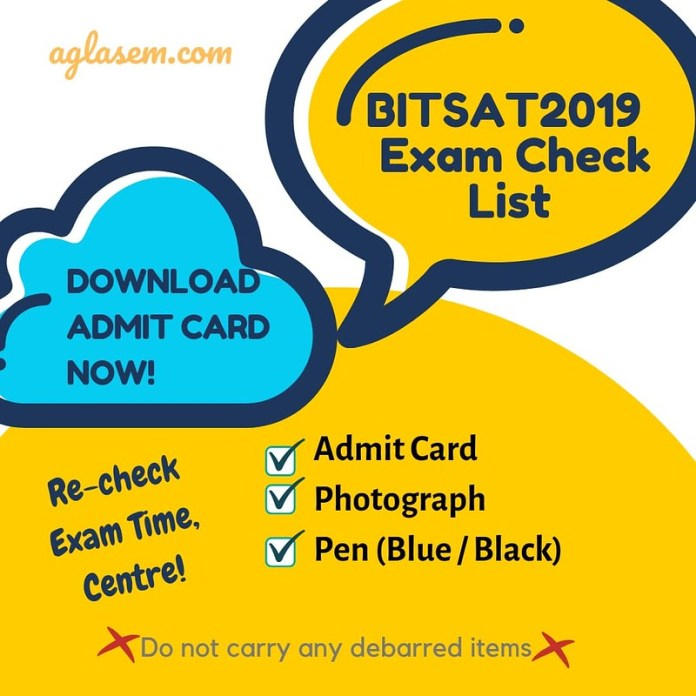 BITSAT 2019 Exam Day Important Instructions