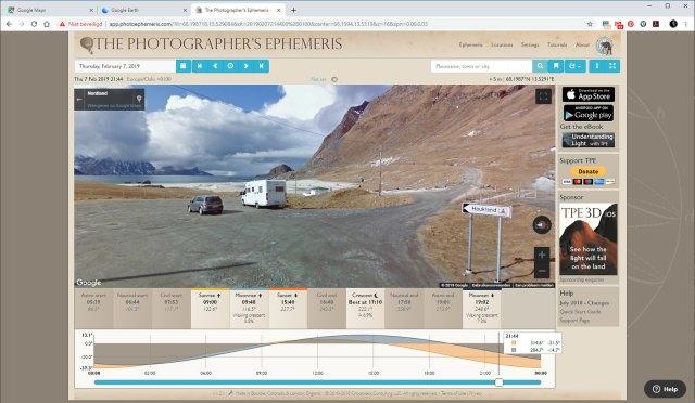 Omdat The Photographer Ephemeris gebruik maakt van Google Maps, is het mogelijk om Streetview te activeren. Daarmee kun je een kijkje ter plekke nemen.