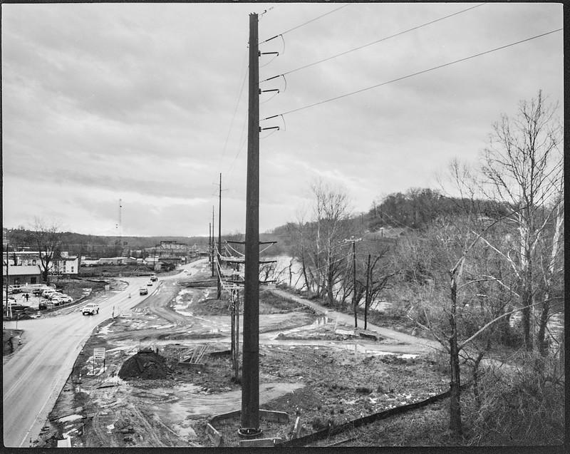 power lines, urban landscape, overcast, French Broad River, Asheville, NC, Kodak No 2 Cartridge Premo Model B, Arista.Edu 200, HC-110 developer, 3.1.19--