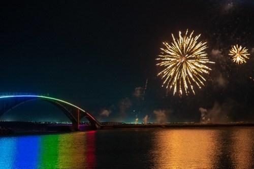 Fireworks by Rainbow Bridge, Penghu, Taiwan