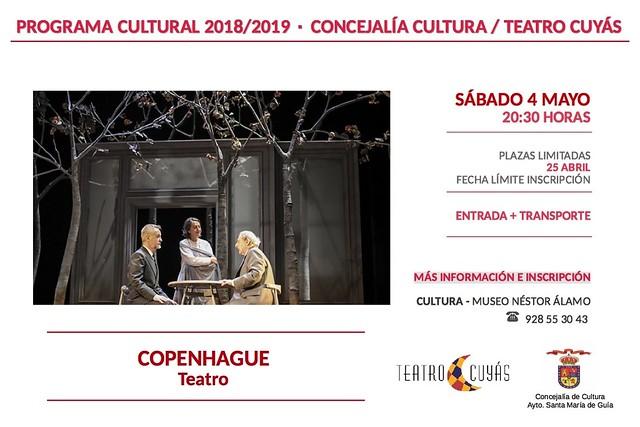 La Concejalía de Cultura organiza una nueva salida al Teatro Cuyás para disfrutar de la obra 'Copenhague'