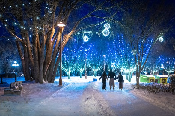winter lights and snow at a park at the forks, Winnipeg