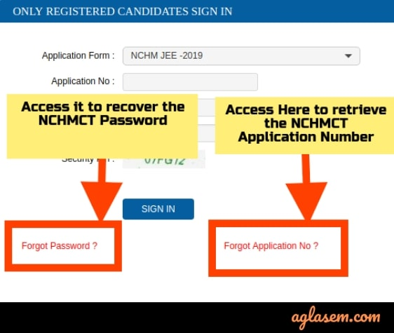 Forget NCHM JEE Application Number or Password