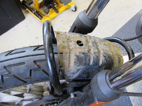 Front Fender Removed Showing Two Fork Braces-Stock (Muddy) and San Jose (Black)
