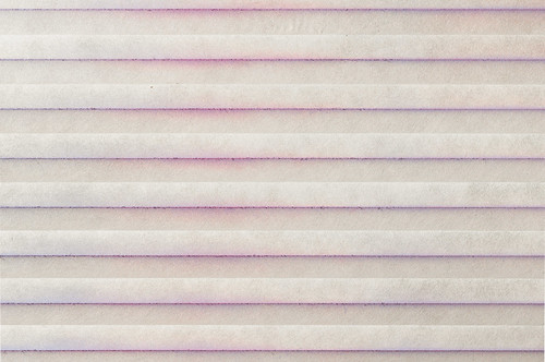 pleated blind, pink and blue spray paint