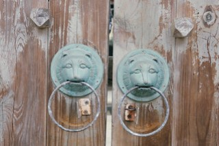 Lion door knob pair on Qimei island, Penghu