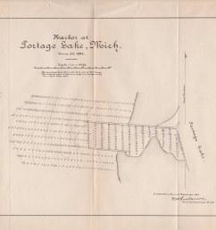 map ephemera onekama mi 1884 portage lake harbor channel soundings map as taken by and [ 1024 x 795 Pixel ]