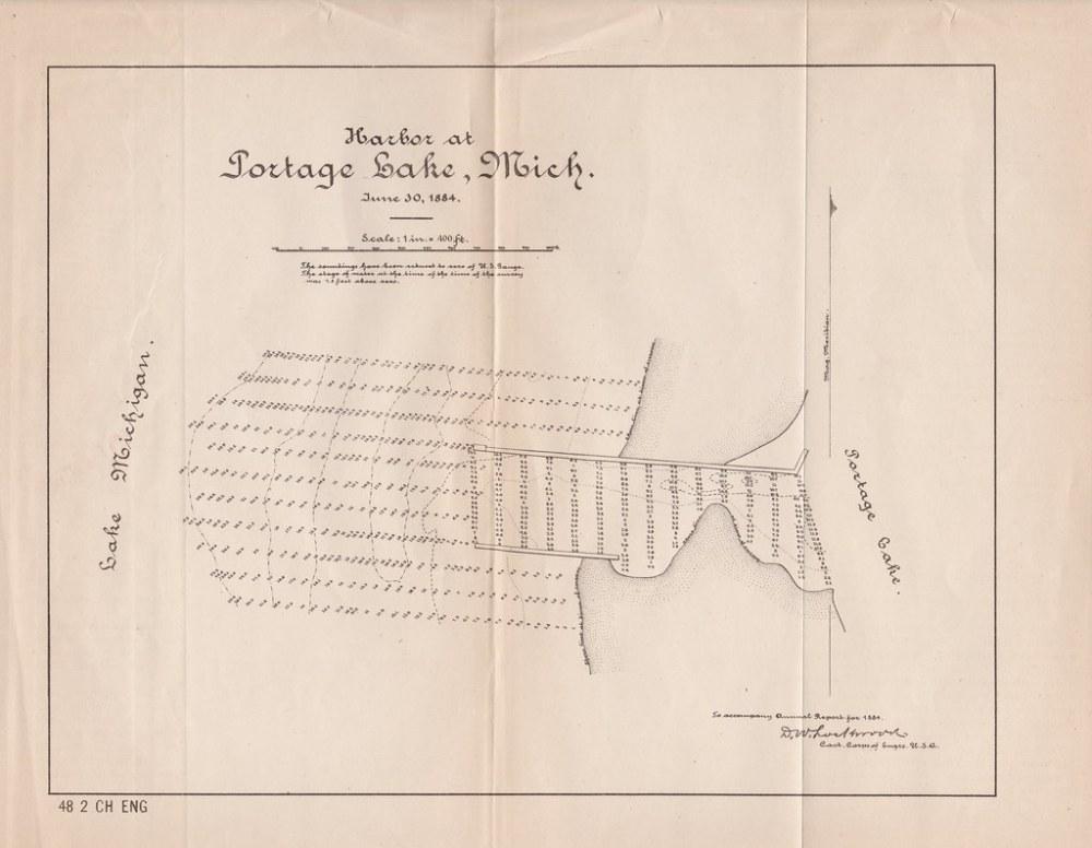 medium resolution of  map ephemera onekama mi 1884 portage lake harbor channel soundings map as taken by and
