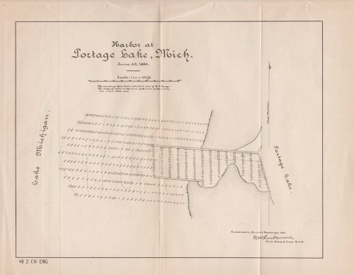 small resolution of  map ephemera onekama mi 1884 portage lake harbor channel soundings map as taken by and