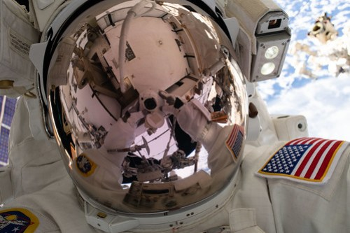 "NASA spacewalker Nick Hague's ""space-selfie"""