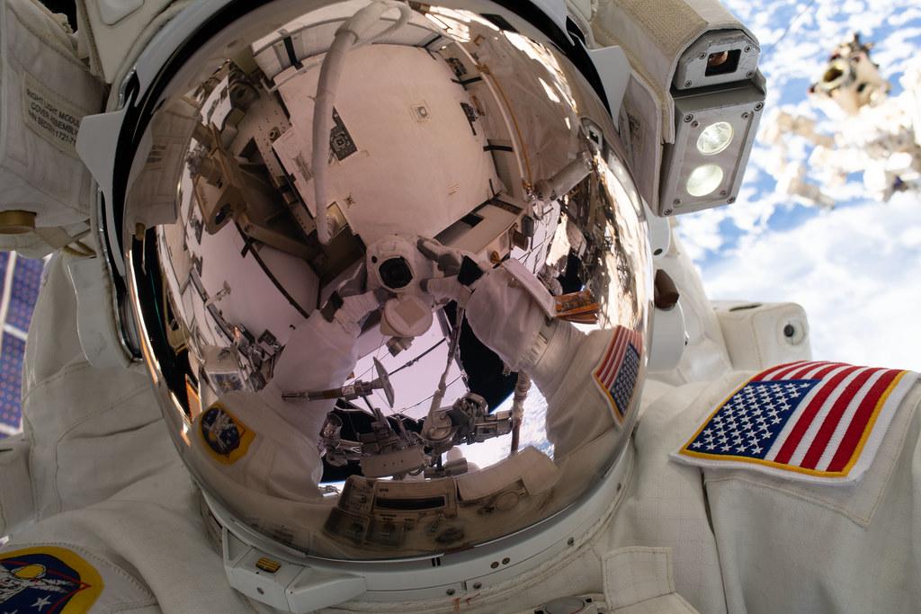 """NASA spacewalker Nick Hague's """"space-selfie"""""""