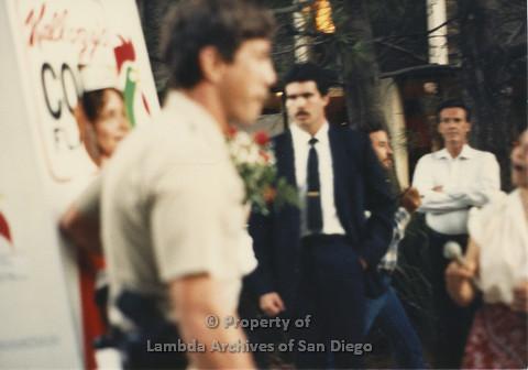 P024.088m.r.t Myth California Protest, San Diego, June 1986: on left: Ann Simonton in Kellogs Costume
