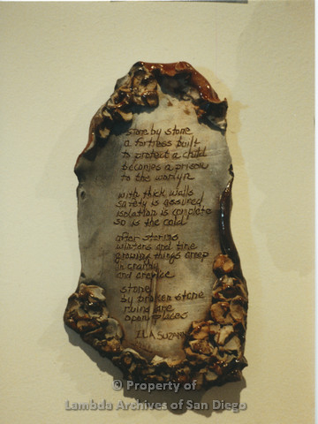 Lesbian Community Cultural Arts (LCCA), Cultural Weekends SDSU:  Clay art tablet with poem by ILA SUZANNA