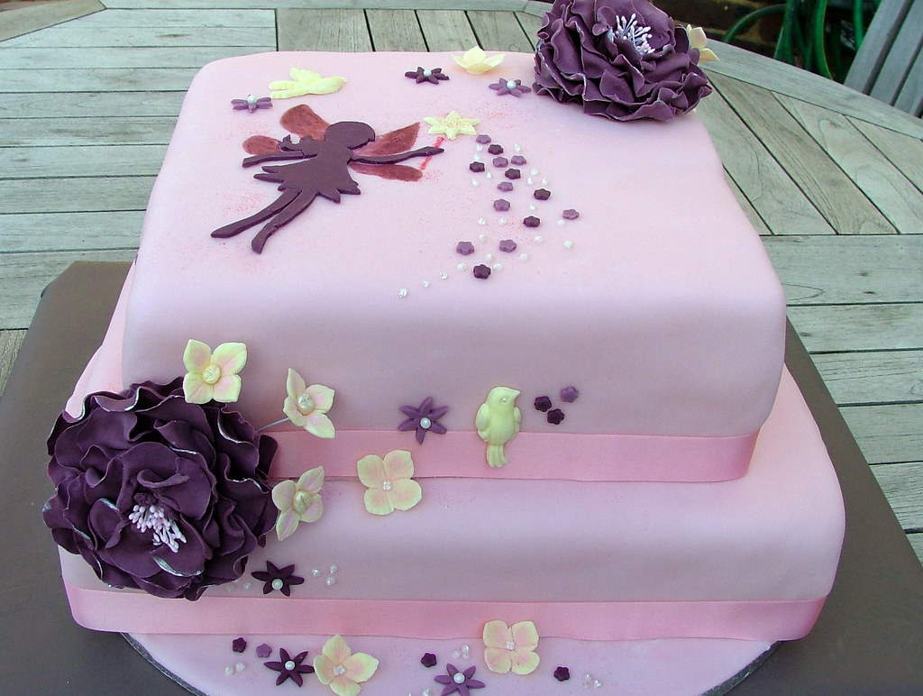 Pink Purple Fairy Girl Silhouette Birthday Cake We Did T Flickr