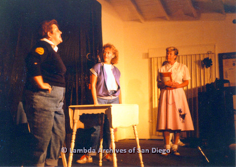 P024.151m.r.t Gwen Snyder (left), Ellie Rapp (middle), Karen Belcher (right) rehearsing on stage
