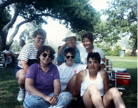 P104.034m.r.t Dignity San Diego: Group shot of six women at a park