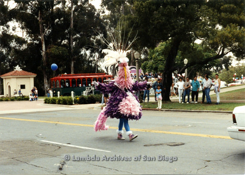 P024.411m.r.t 1990 San Diego Pride parade: A bird marching in parade