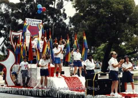P024.417m.r.t 1990 San Diego Pride parade: people on Long Beach parade float
