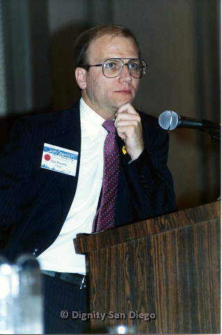 P103.129m.r.t Dignity Ninth Biennial Convention 1989: Jim Bussen speaking at podium