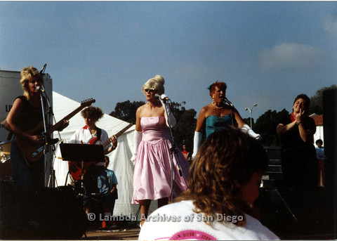 P024.400m.r.t 1989 San Diego Pride: Female Band performing on stage with back up singers