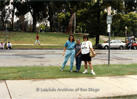 P024.517m.r.t 1990 San Diego Pride: (Left to right) Diane Besemer, Jo Freedman, and Cory Baca smile for the camera.