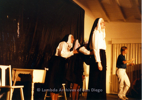 P024.165m.r.t Beautiful Lesbian Thespian performers in nun habits performing on stage