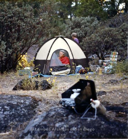 P024.303m.r.t  Ila Suzanne in a tent