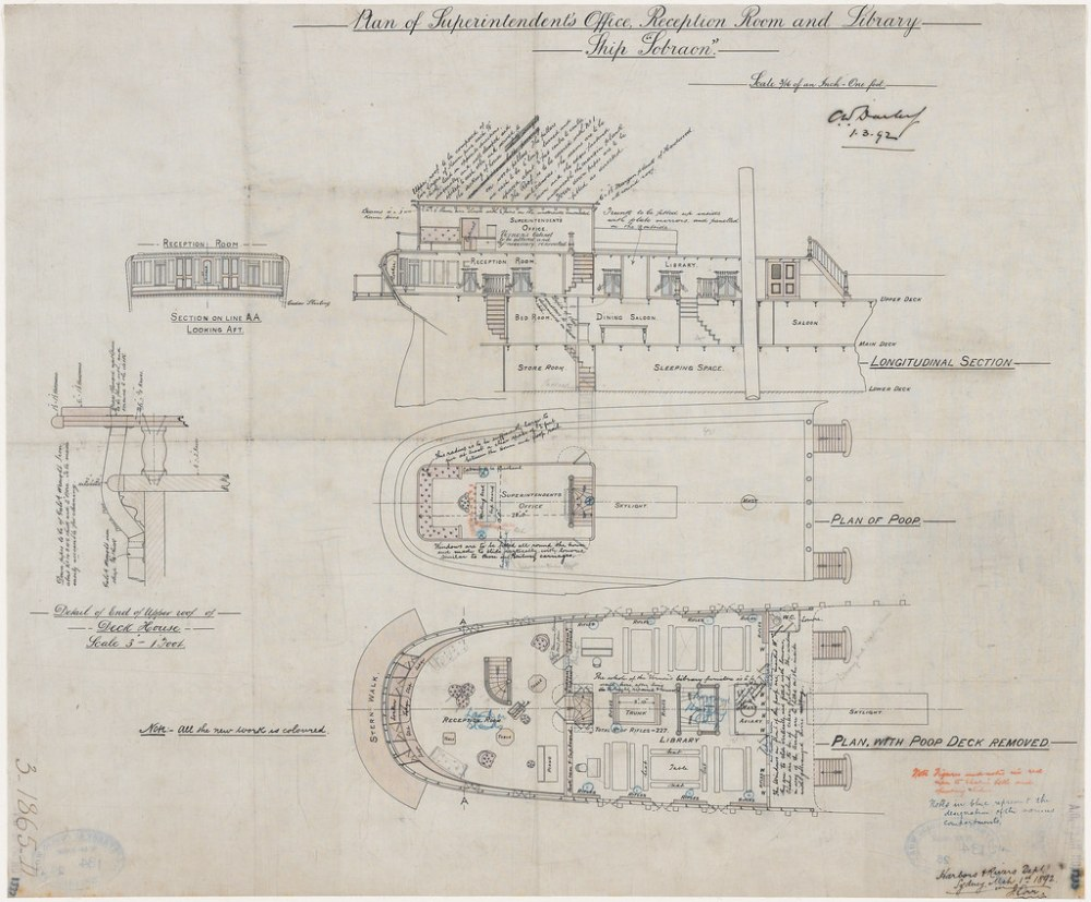 medium resolution of  plan of superintendent s office reception room and library ship sobraon james orr