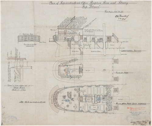 small resolution of  plan of superintendent s office reception room and library ship sobraon james orr