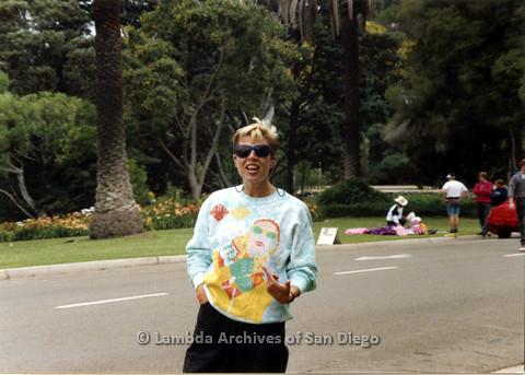 P024.443m.r.t 1990 San Diego Pride Parade: Karen Belcher wearing sunglasses