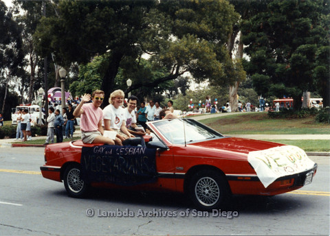 P024.410m.r.t 1990 San Diego Pride Parade: Gay and Lesbian Vegetarians of San Diego parade car