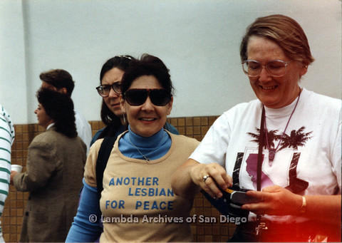 P024.442m.r.t 1990 San Diego Pride Parade: From left to right Sheila Clark, Judy Reif