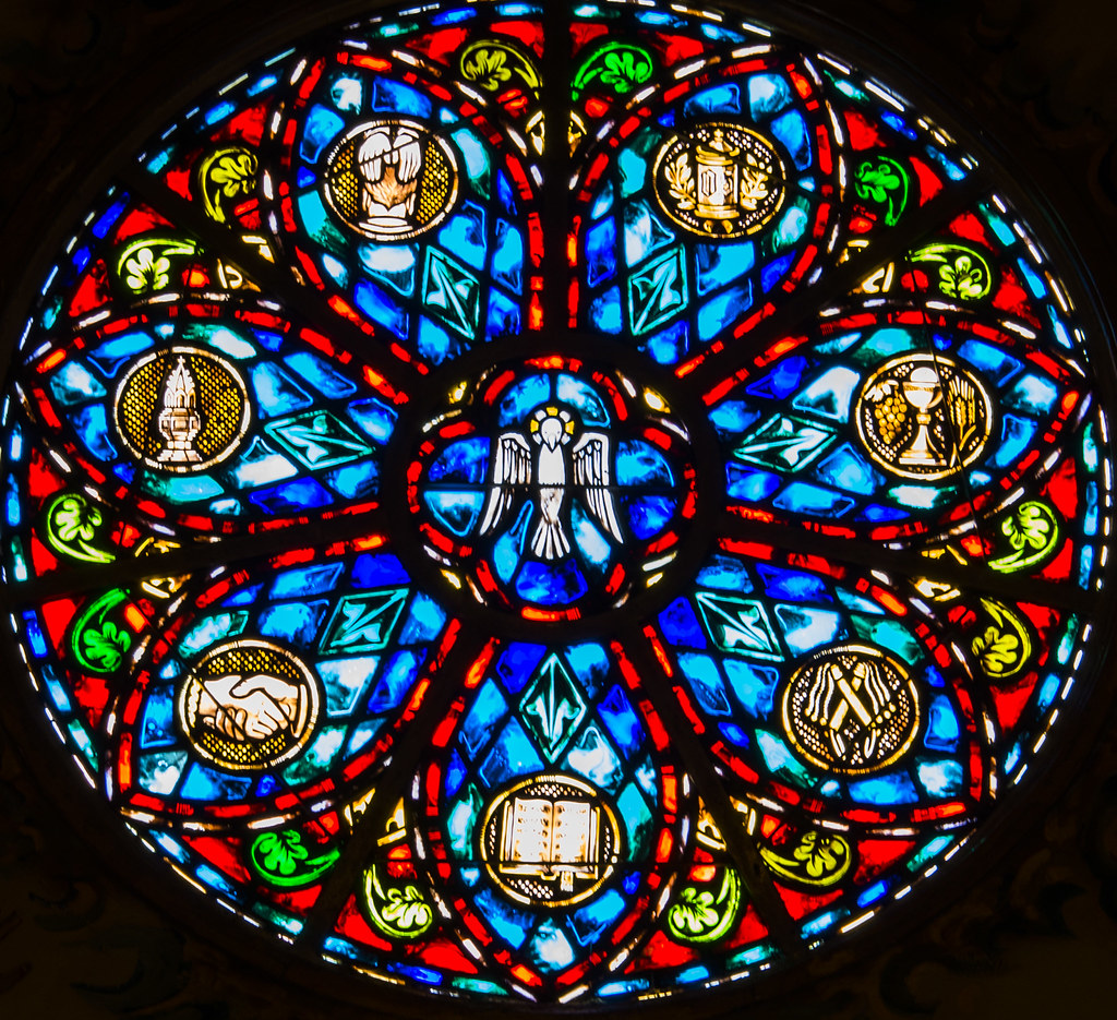 Close Up Of 7 Sacraments Stained Glass