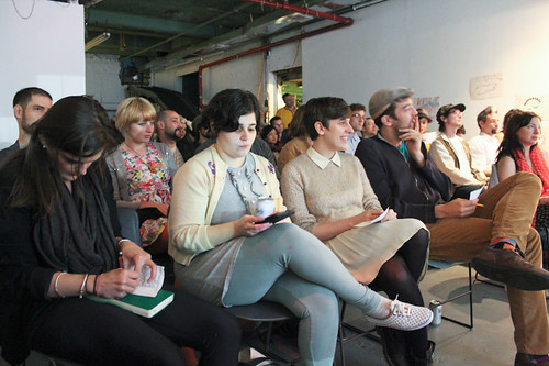Date + time: Wednesday, May 15th, 8pm Location: Flux Factory Gallery, 39-31 29th Street, LIC  My Diamond Shoes are Too Tight: A Discussion of Fame is a panel discussion and presentation bringing together three artists who have a critical and unique approach to celebrity. JD Samson, Josh Harris, and Ann Hirsch explored some of the lesser discussed aspects of being a public figure, moderated by Nathaniel Sullivan. This event is part of Fake It 'Til You Make It, Flux Factory's take on the traditional artist professional development series.
