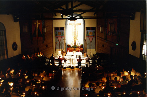 P103.015m.r.t Dignity San Diego, Christmas 1988: Church congregation holding candles