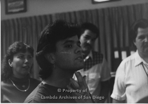 """P098.015m.r.t Nations of the 4 Directions meeting at the Indian Human Resource Center: group listening to the speaker including Ricky """"Cricket"""" Kimball in background, Marshall front center"""