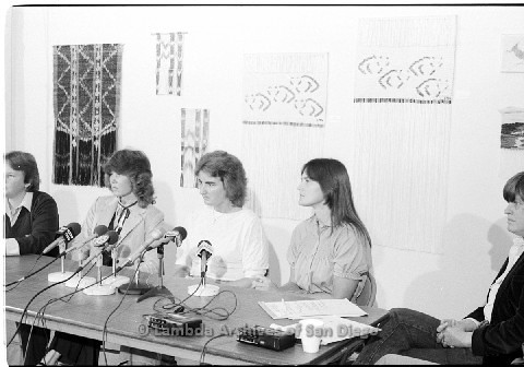 P123.036m.r.tDixon Press Conference 1982:  (Left to Right) Robin Bruce, Fran Ledford, Chris Russel, Eileen Bingle and Susan McGreivy (ACLU)