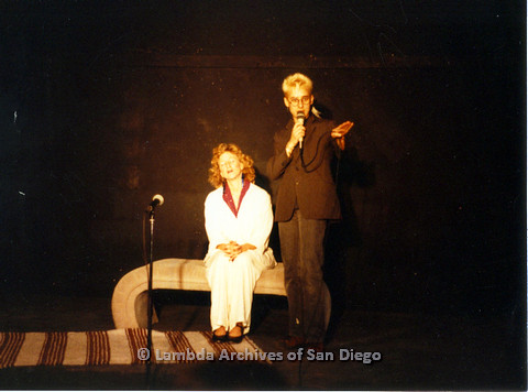 P024.199m.r.t  Ellie Rapp (left) performing on stage with Laura Sutherland