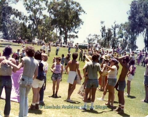 P109.012m.r.t San Diego Pride Festival 1976: gathering in Balboa Park.
