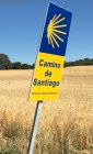 Signs bearing a scallop shell direct pilgrims along the Camino to Santiago de Compostela. The shell is one of the most iconic symbols of the Camino