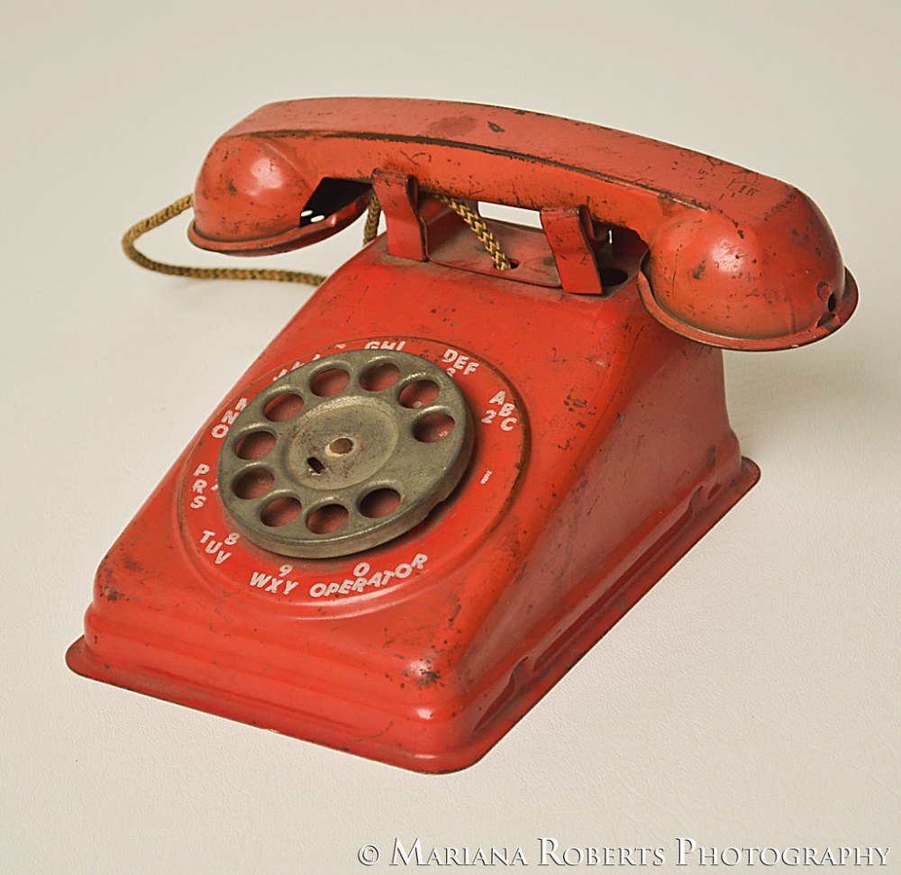 medium resolution of  vintage toy telephone red metal rotary dial phone from the 1950s the steel stamping