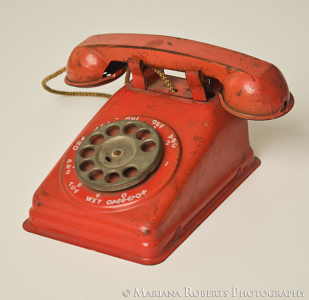 hight resolution of  vintage toy telephone red metal rotary dial phone from the 1950s the steel stamping