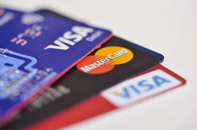 Visa and MasterCard Credit Card Closeup