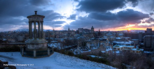 Panoramic of Dugald Stewart Monument at Sunset